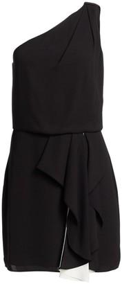 Halston One-Shouldered Colorblocked Short Dress