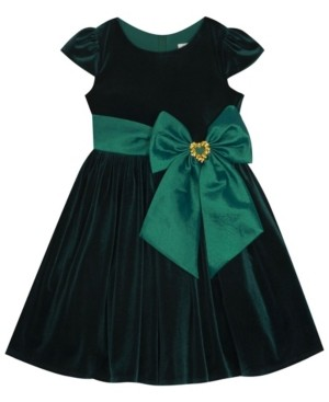 Rare Editions Little Girl Velvet Dress With Taffeta Waistband And Bow
