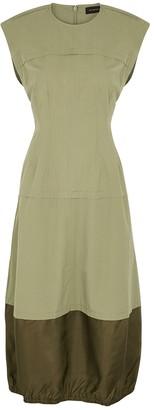 Lee Mathews Birder olive cotton midi dress