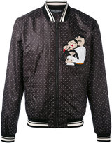 Dolce & Gabbana polka dot family appliqué bomber jacket - men - Polyester - 48