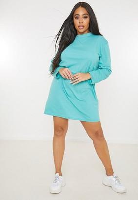 Missguided Plus Size Green Basic Long Sleeve T Shirt Dress