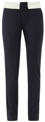Tibi Beatle Contrast-waist Wool-blend Trousers - Navy White