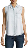 DL1961 Premium Denim N7th & Kent Raw-Hem Sleeveless Shirt, Gray