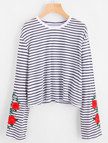 Shein Flower Embroidered Striped Tee