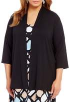 Karen Kane Plus Molly 3/4 Sleeve Open Front Solid Knit Cardigan