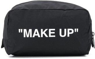 Off-White quote print wash bag