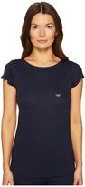 Emporio Armani Viscose Loungewear with Rhinestone Eagle Round Neck T-Shirt Women's Pajama