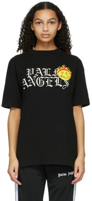 Palm Angels Black Smiley Edition Burning Head Logo T-Shirt