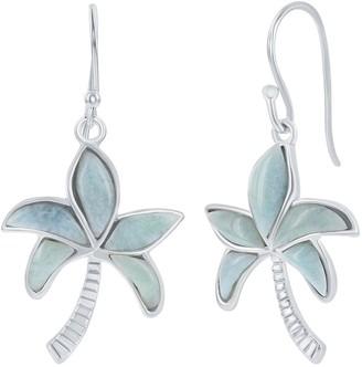 Sterling Silver Larimar Palm Tree Drop Earrings