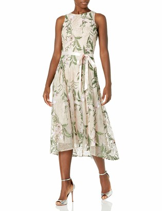 Tahari ASL Women's Sleeveless Tie Waist Floral High Low Dress