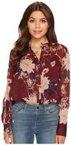 Lucky Brand Printed Top Women's Long Sleeve Button Up