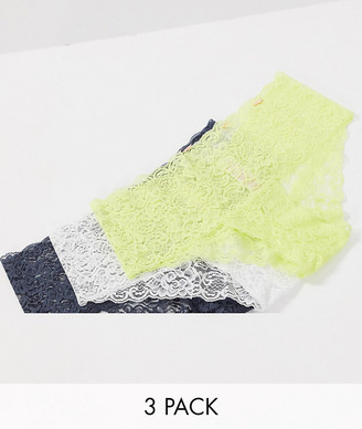 Dorina Lana 3 pack lace briefs in white yellow and grey