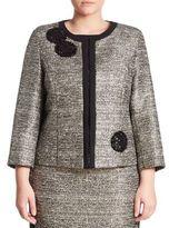 Marina Rinaldi, Plus Size Chance Embellished Metallic Tweed Jacket