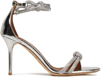 Malone Souliers Filipa Luwolt 85 Knotted Woven-trimmed Metallic Leather Sandals