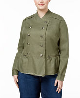 INC International Concepts Plus Size Linen Military Jacket, Only at Macy's