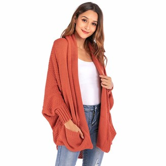 Rikay Women Sweater Rikay Womens Bat Sleeve Knitted Baggy Oversized Pocket Long Jumpers Cardigans Cape Pullover Boyfriend Sweater Size S-XL Orange