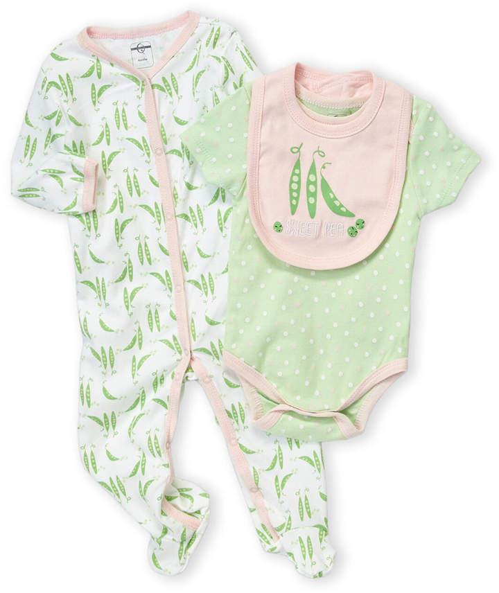 Baby Essentials Quiltex (Newborn Girls) 3-Piece Pea Motif Bodysuit & Footie Set