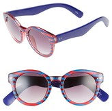 BP Women's 48Mm Stripe Round Sunglasses - Blue/ Red