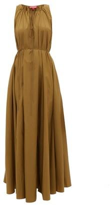 STAUD Edie Tie-waist Poplin Dress - Womens - Khaki