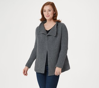 Fisherman Out of Ireland Merino Wool and Cashmere Blend Ribbed Cardigan