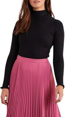 Boden Frill Turtleneck Cotton Blend Sweater