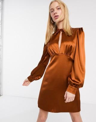 ASOS DESIGN mini satin tea dress with collar in rust