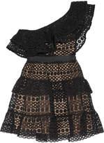 Self-Portrait One-shoulder Tiered Guipure Lace Mini Dress - Black