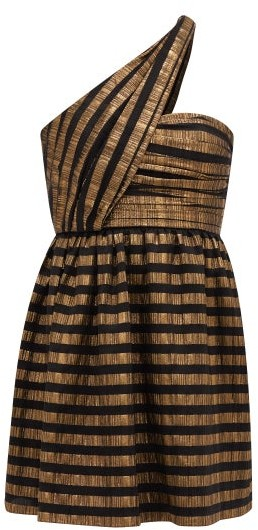 Saint Laurent One-shoulder Striped Lame Silk-blend Dress - Black Gold