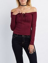 Charlotte Russe Off-The-Shoulder Lace-Up Crop Top