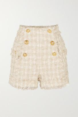 Balmain Button-embellished Tweed Shorts - Beige