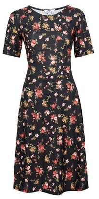 Dorothy Perkins Womens Tall Black Floral Print Dress, Black