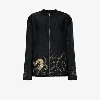 By Walid Embroidered Silk Bomber Jacket