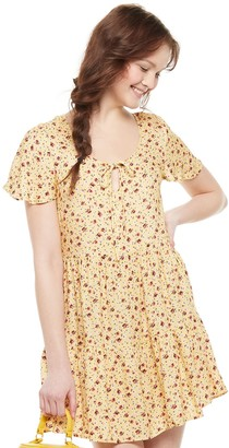 Love, Fire Juniors' Short Sleeve Woven Babydoll Dress