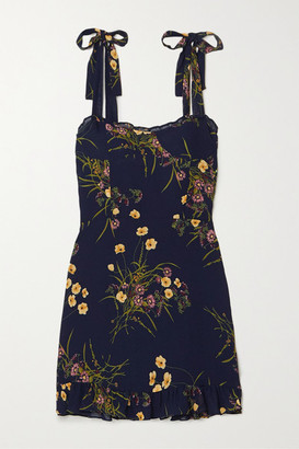 Reformation Christine Ruffled Floral-print Georgette Mini Dress - Navy