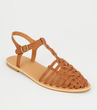 New Look Leather-Look Woven Caged Sandals