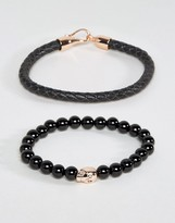 Simon Carter Leather And Onyx Beaded Bracelet Set With Rose Gold Skull