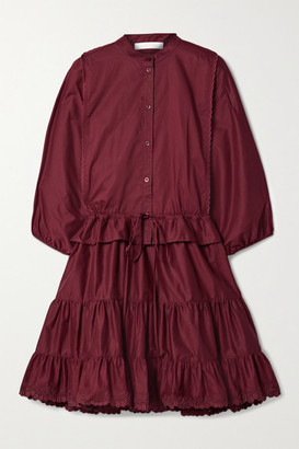 See by Chloe Tiered Embroidered Cotton-poplin Mini Dress - Claret