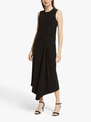 Theory Asymmetric Drape Tuck Dress, Black
