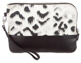 Sandro Leopard Print Canvas & Leather Clutch
