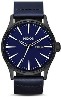 Nixon Sentry Blue Leather Watch, 42mm