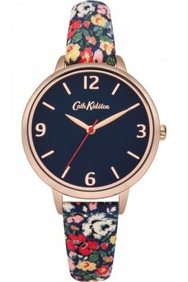 Cath Kidston Ladies Mews Ditsy Navy Fabric Strap Watch CKL002URG