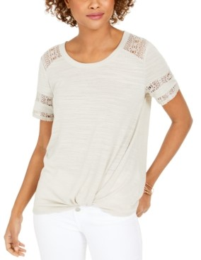 Style&Co. Style & Co Lace-Inset Top, Created for Macy's