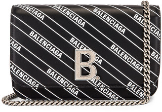 Balenciaga B Logo Wallet on Chain Bag in Black & White | FWRD