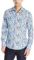 Stone Rose Men's Tropical Leaves Long Sleeve Button Down Shirt