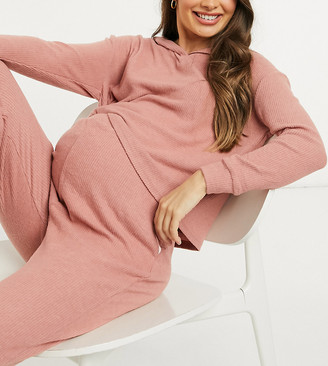 New Look Maternity co-ord lounge soft ribbed hooded top in pink