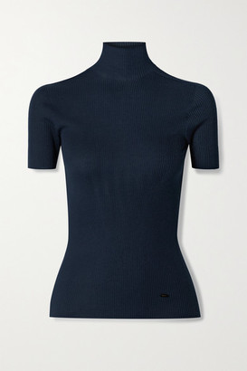 Akris Ribbed Mulberry Silk And Cotton-blend Turtleneck Top - Navy