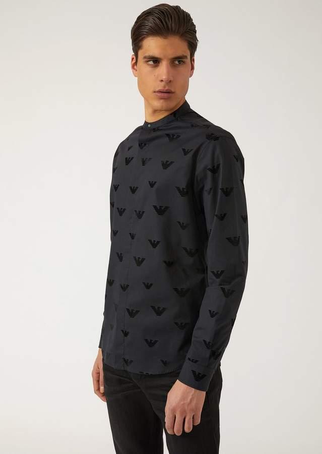 Emporio Armani Flock Print Stretch Poplin Shirt With Eagles And Mandarin Collar