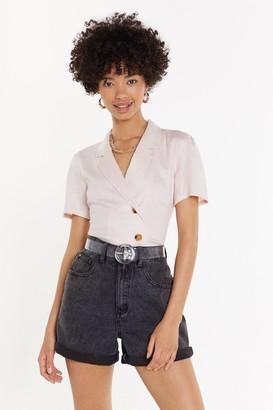 Nasty Gal Womens Linen Short Sleeve Shirt - pink - 12