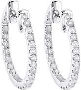 1/2 CT TW Diamond 14K White Gold In/Out Hoop Earrings by Moda Di Oro