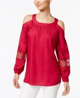 Style&Co. Style & Co. Cold-Shoulder Crochet-Trim Top, Created for Macy's